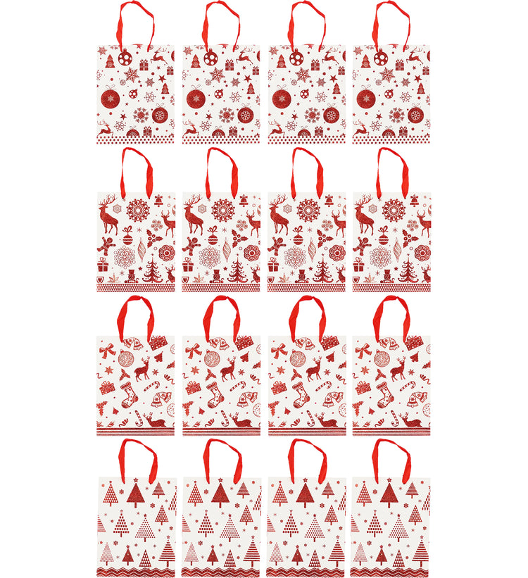 "Christmas Shopping Gift Bag - White/Red - 9x7x3"" (12 Pack)"