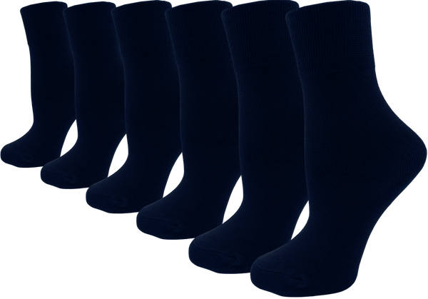 Women's Bamboo Dress Socks - Navy Blue (6 Pack)