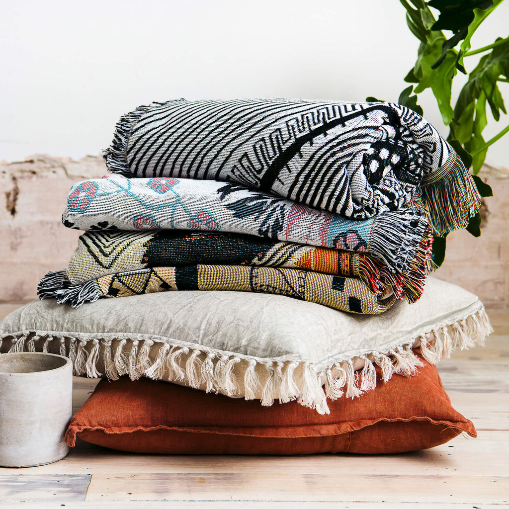 Collection of Woven Cotton Throw and Picnic Rug