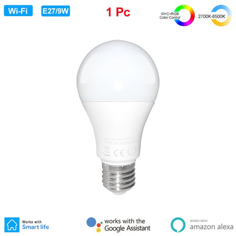 E27 9W Wifi Smart LED Light Bulb Dimmable