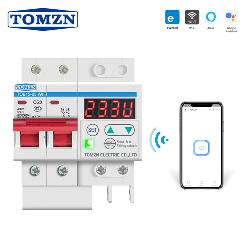 Din Rail WIFI Circuit Breaker Smart Switch Remote Control by Ewelink with over and under voltage current protecion LCD display