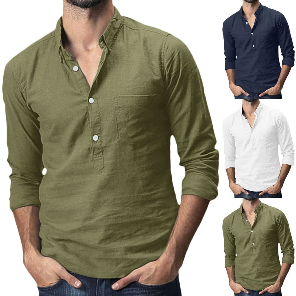 Men's Baggy Cotton Linen Solid Multi-Pocket Short Sleeve