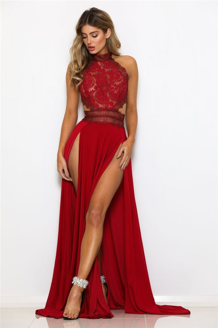 Sexy Sheer Lace High Slit Maxi Evening Party Dress for Women