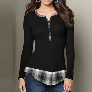 V-Neck Buttons Long Sleeve Plaid Patchwork Top for Women