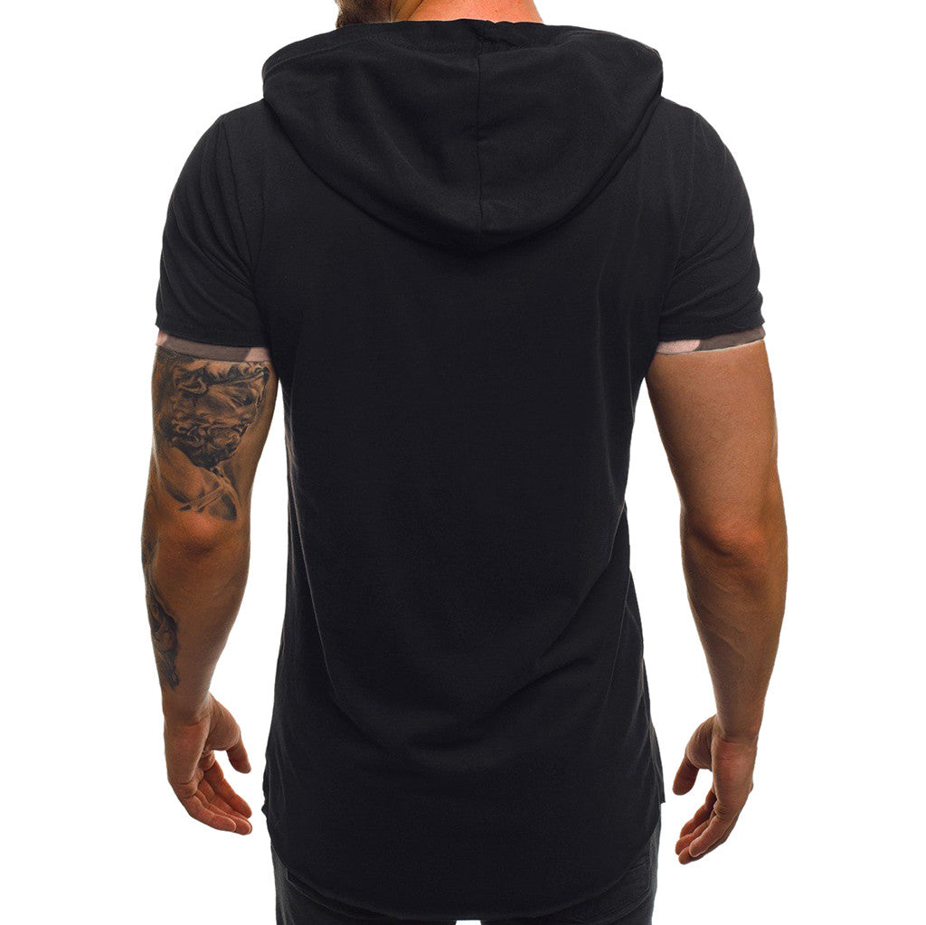 Fashion T-Shirt Summer Casual Patchwork Slim Short Sleeve Hooded
