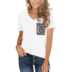 Women's Summer T-Shirt Short Sleeves V-Neck Patchwork Pocket