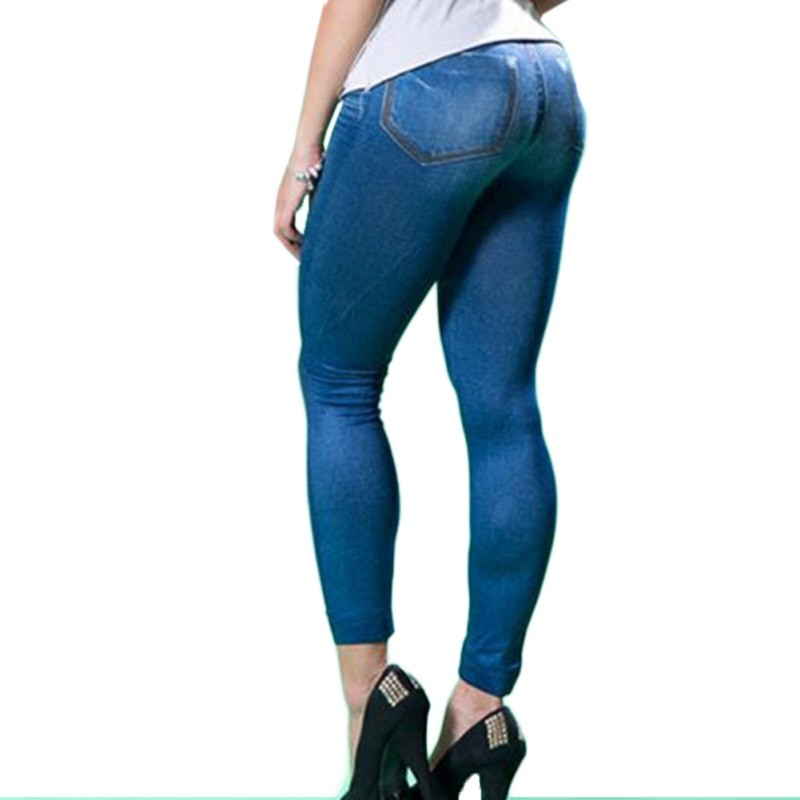 Hot Leggings Jeans Women Denim Pants with Pocket Fitness