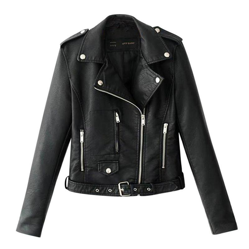 Black Slim Cool Lady Pu Leather Jacket for women
