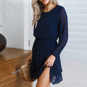 Women's Dress Sexy O-Neck Solid Cascading Full Lantern Sleeve