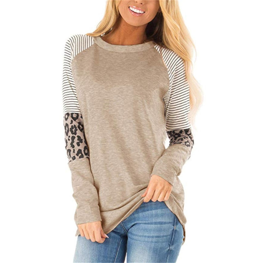 Women's Long Sleeve T Shirt Striped Leopard stitching