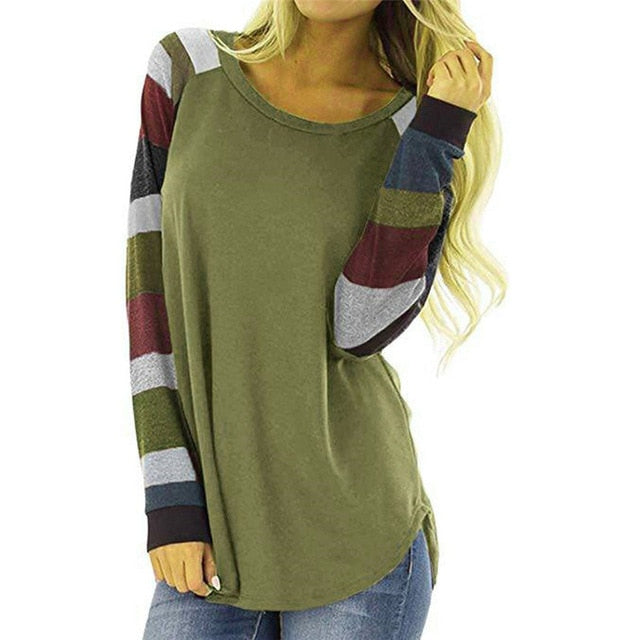 Women's Stripe Patchwork Casual Tops Shirt  O-neck