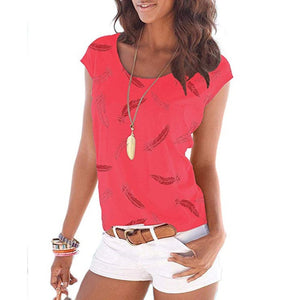 Summer Fashion T-shirt Women Short Sleeve O-Neck