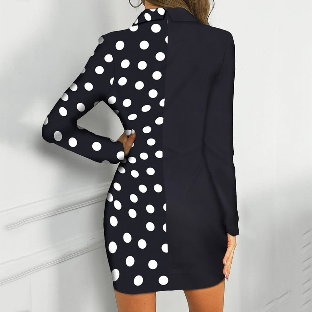 Dress Women Office Lady Sexy Solid Turn Down Neck Long Sleeve Buttons