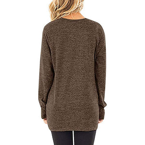 Women Tops O Neck Long Sleeves Knits Tees Loose Fit