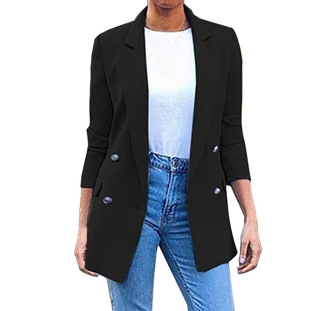 Ladies Solid Turn Down Collar Jacket Long Sleeve Coat Parka