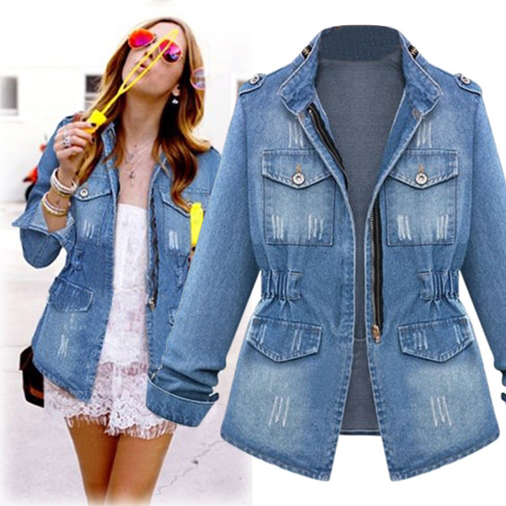 Women's coat slim Denim Jacket Jeans