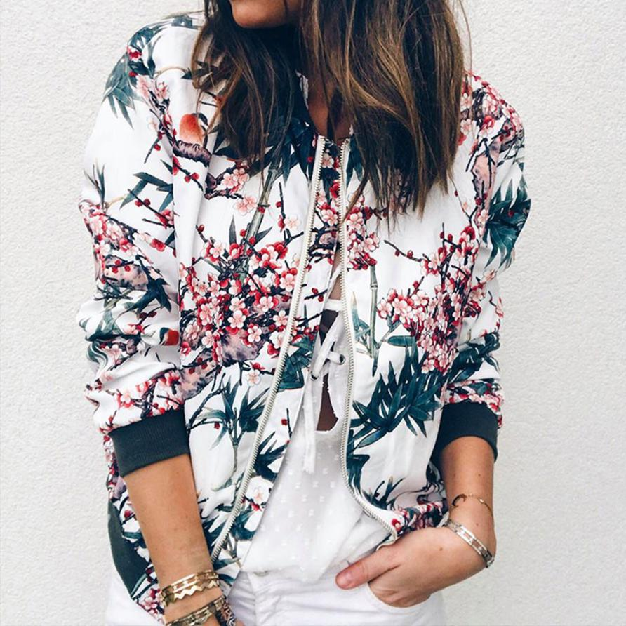 Outerwear & Coats Jackets Women's Ladies Retro Floral Zipper Up  jackets
