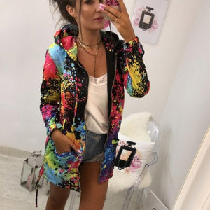 Tie dyeing Print Outwear Sweatshirt Hooded Overcoat jacket for women