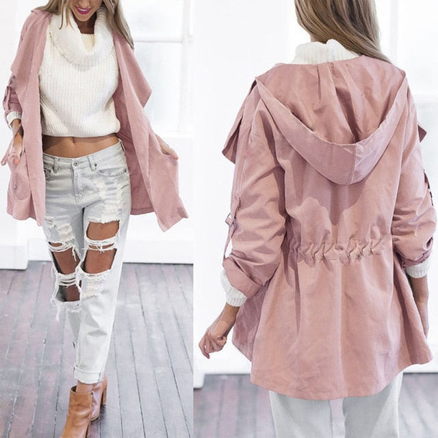 Women's Jacket Long Section Hooded Light Windbreaker Coat