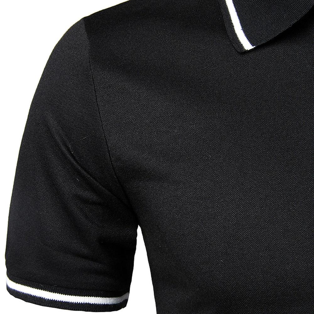 Men's Solid Personality Shirt Short Sleeve Casual Polo Top Blouse