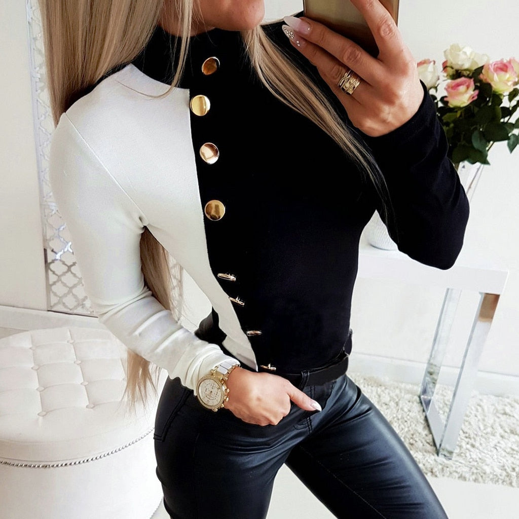 Women's Color block Long-Sleeved High-Neck Patchwork