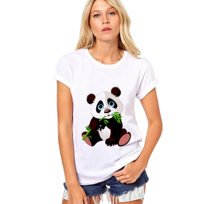 Summer T-Shirts Top Short Sleeve Panda
