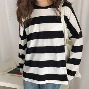 T Shirt Women Striped Print Long Sleeve