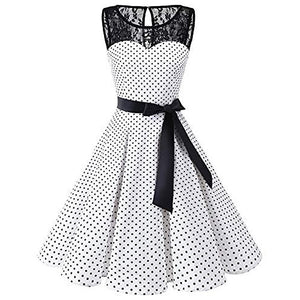 Fashion Summer Dress Female Women Sleeveless Polka Dot Lace Vintage