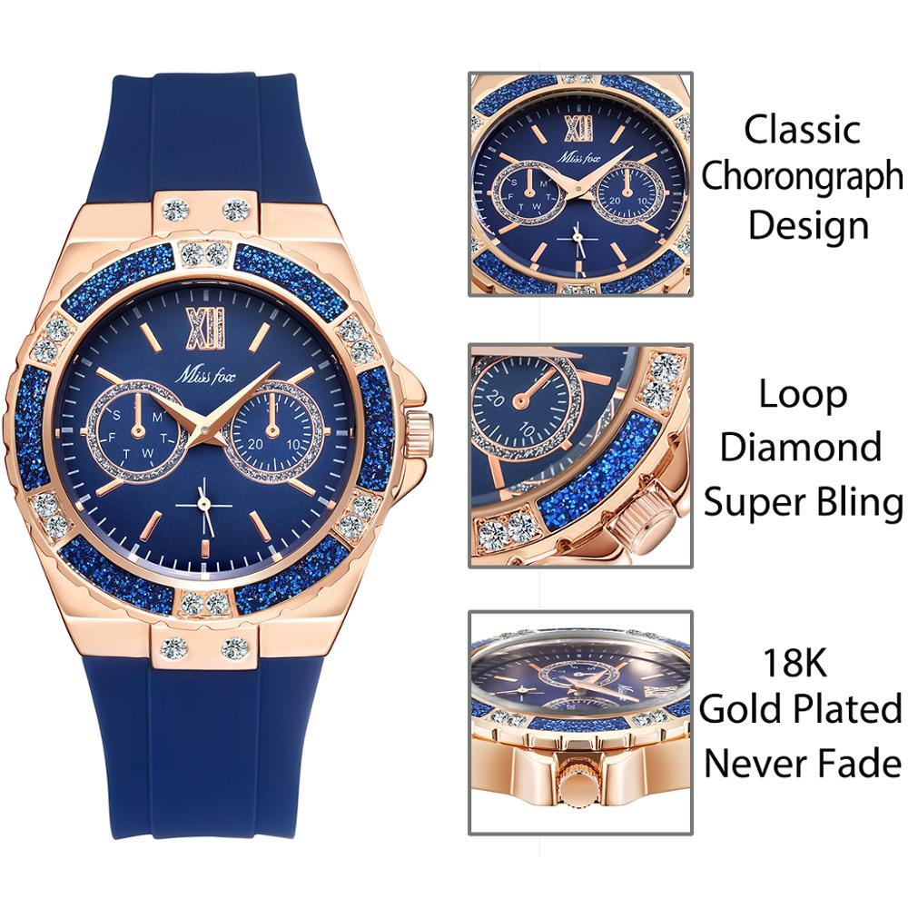 Women's Watches Chronograph Diamond Blue Rubber Band
