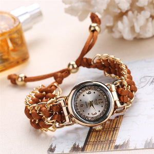 Women Watches Fashion Lady Knitting Rope Chain Winding Rhinestone Quartz