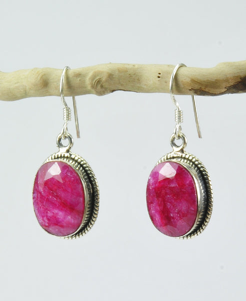 Antique oval ruby earrings
