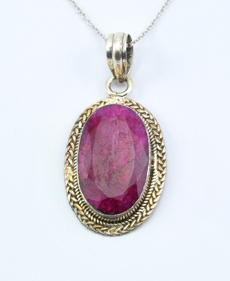 Antique Oval Ruby Pendant