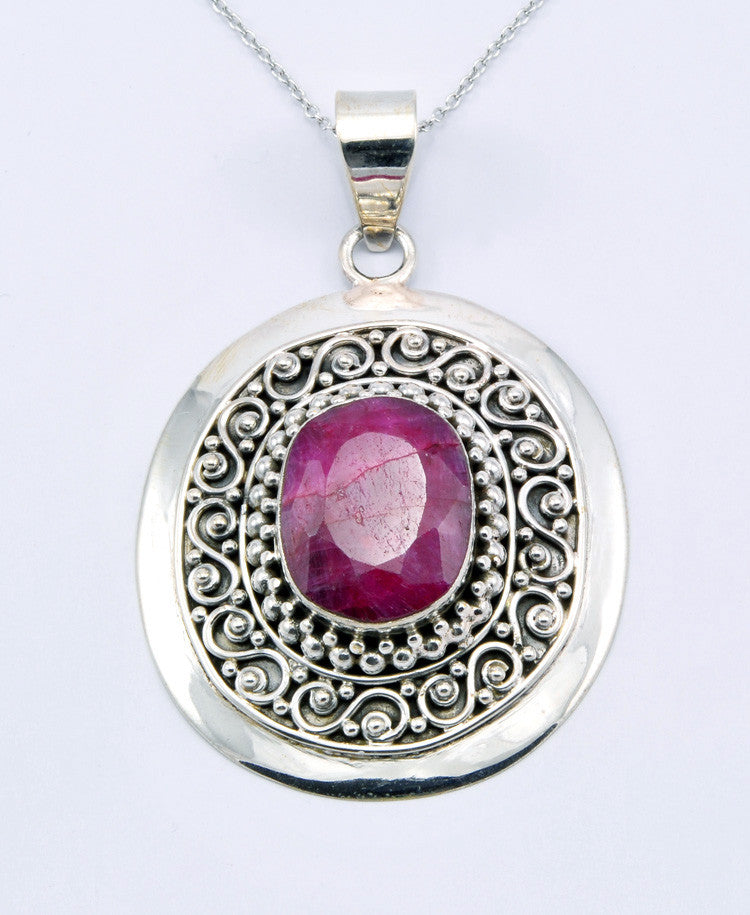Rosy Oval Ruby Pendant