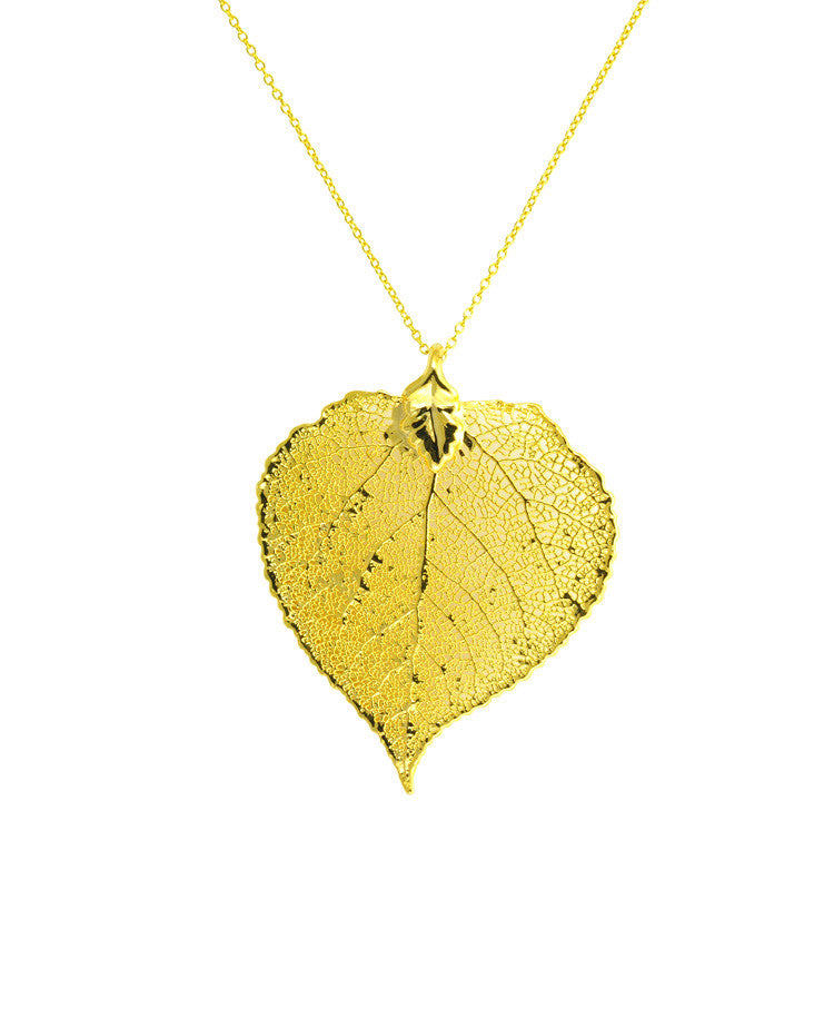 Gold dipped Aspen leaf pendant