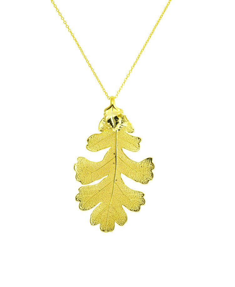 Gold dipped REAL leaf pendant