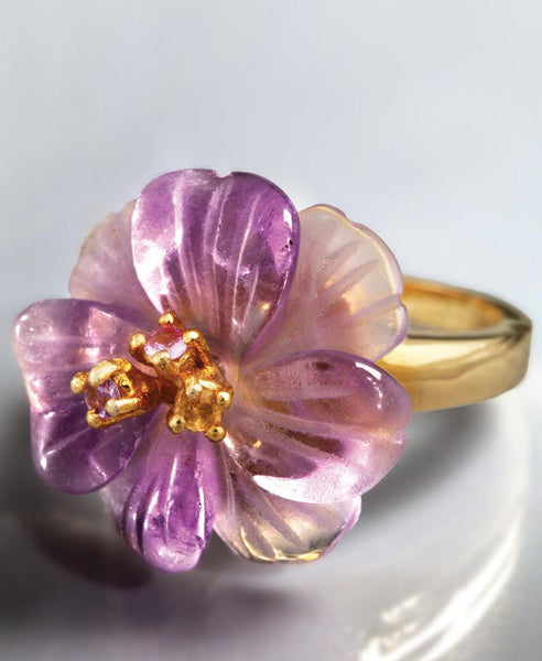 Florista Carved Amethyst Ring