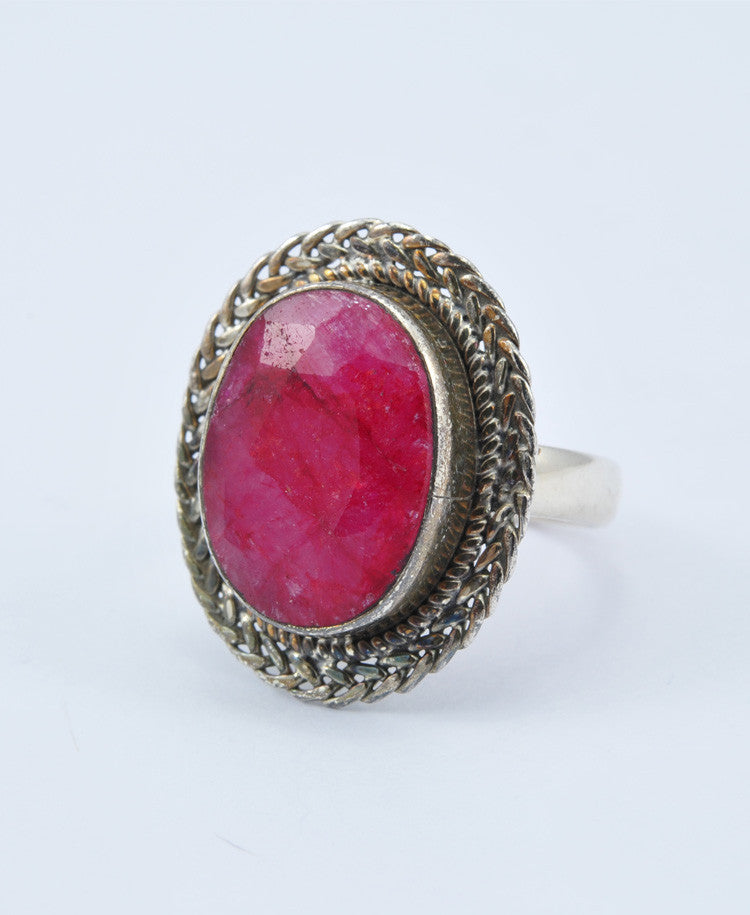 Rosy Oval Ruby Ring