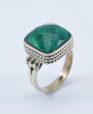 Antique Cushion Emerald Ring