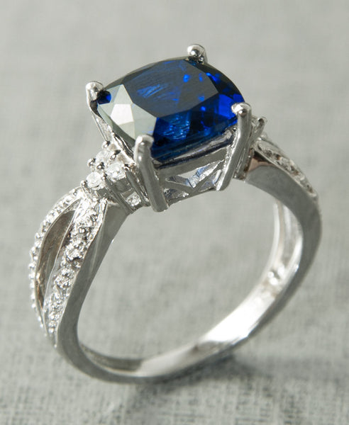 Angel blue ring - silver