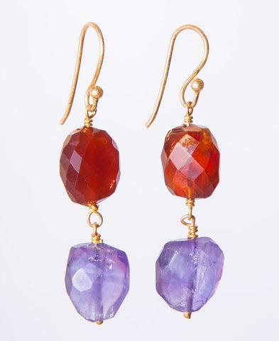Garnet and Amethyst earrings.