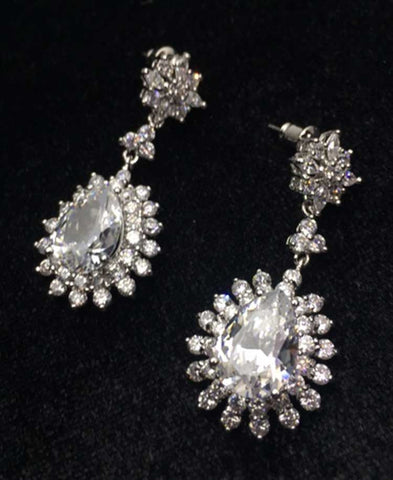Classic White CZ earrings