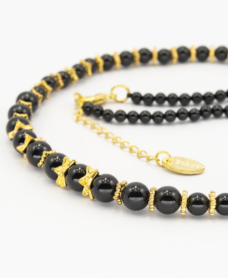 Tyrian black agate necklace