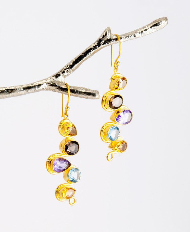 Multi gems earrings