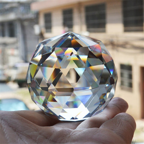 Photography Faceted Crystal Ball Feng Shui Paperweight Decorative Glass Ball