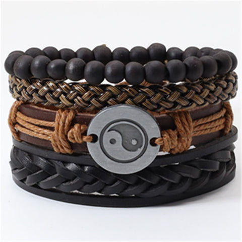 Khaki Black Beads Wristband