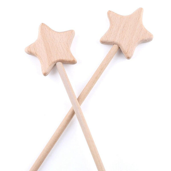 2PC Beech Wooden Star Toy