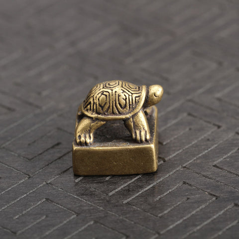 Solid Pure Brass Small Turtle Seal Statue