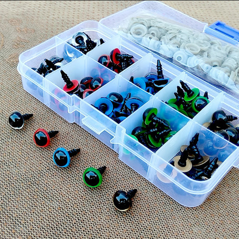 100PCS 8mm 10mm 12mm Mix Color Plastic Animal Safety Eyes