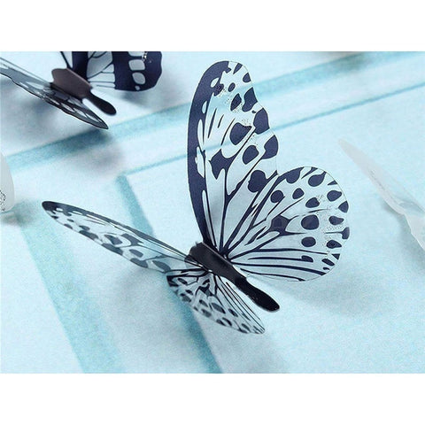 36 Pcs 3D Black White Butterfly Sticker Art Wall Decal