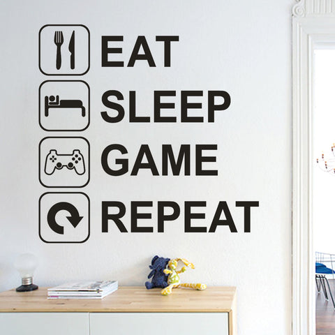 Eat Sleep Game Repeat Removable Art Vinyl Mural